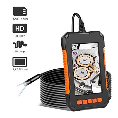 GEEUMI Industrieendoskop 1080P HD-Endoskopkamera wasserdichte IP67 Inspektionskamera mit 4,3-Zoll-LCD-Bildschirm 8 LED-Leuchten 2600 mAh Batterie 5m halbstarres Kabel