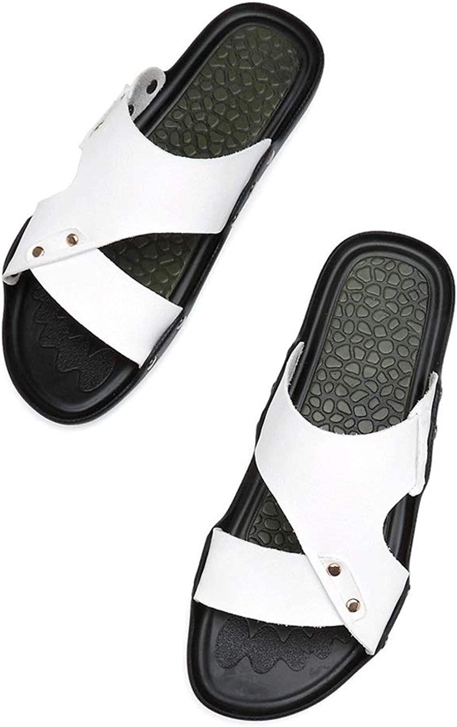 Men's Thong Flat Sandals Flip-Flops Slippers Sandals Casual Men's Sandals (color   White, Size   7.5 UK)