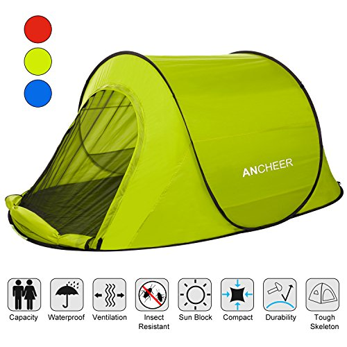 ANCHEER Portable 2 Person Camping Tent pop up for Kids & Adults - Waterproof Pop Up Backpacking Camping Dome Tent for Outdoor Sports (Blue) (Blue)
