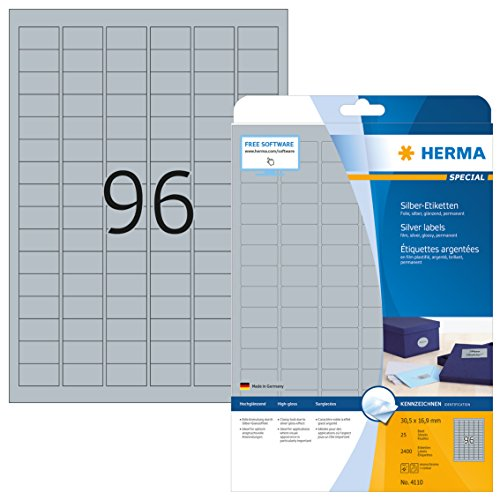 HERMA 4110 Wetterfeste Folien-Etiketten DIN A4 silber (30,5 x 16,9 mm, 25 Blatt, Polyesterfolie, glänzend) selbstklebend, bedruckbar, permanent haftende Etiketten Aufkleber, 2.400 Klebeetiketten