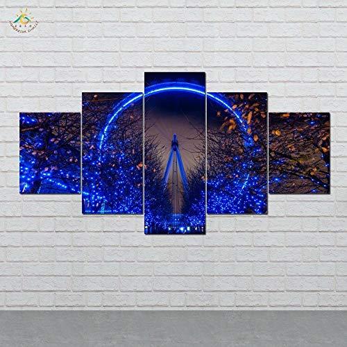 ZGHONG London Eye Weihnachtsbeleuchtung Bild und Poster Leinwand Malerei Moderne Wandkunst Druck Pop Art Wandbilder 5 Stück, Unframed 20X35 20X45 20X55cm