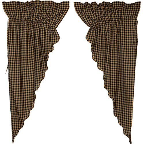 VHC Brands 20247 Check Scalloped Prairie Curtain Set, Black