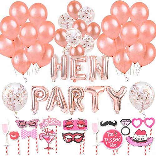 72pcs Hen Party Decorations Accessories - Bridal Shower Decorations Hen Do Decorations Accessories Balloons Foil HEN PARTY Balloons and Banner Rose Gold Self Inflating for Hen Nights Party