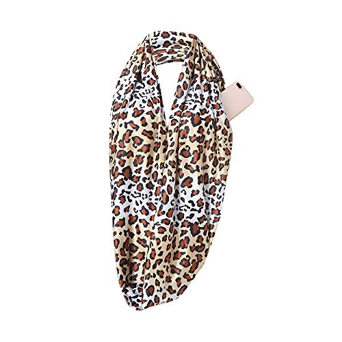 Maonet 1PC Women Fashion Leopard Printing Winter Thermal Active Infinity Scarf With Zip Pocket (A)