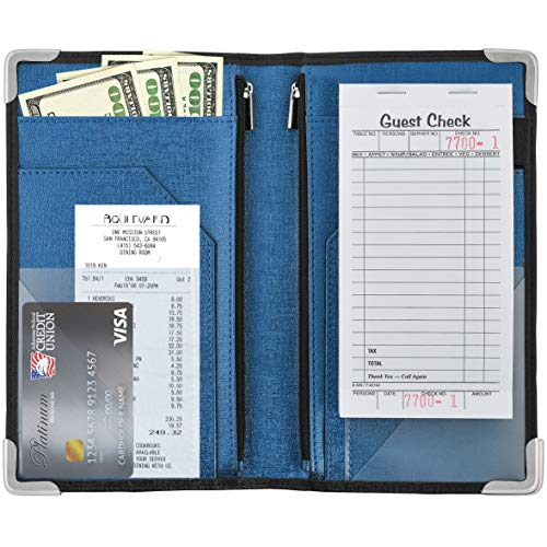 "GOLGINO Server Book for Waitress & Waiter 9"" x 5"", Two Zipper Pockets & ID Holder, Premium Receipt Organizer Wallet Fits Aprons, 11 Money Pockets Perfect for Server Banking (Black/Blue)"