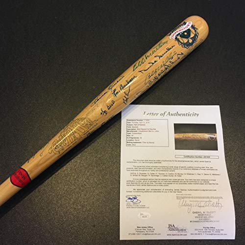 Beautiful Hall Of Fame Signed Bat 41 Signatures Ernie Banks JSA COA Auto