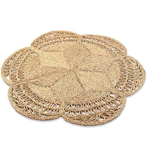 100% Handmade Area Circle Rug, Hand Woven Kitchen Area Rug, Hand Braided Round Carpet, Natural Round Jute Rug, Seagrass Rug 4ft, Dining Room Round Boho Rug 4ft (Flower Shape)