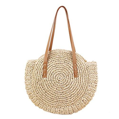 OneMoreT Beach Vintage Retro Straw Rattan Wicker Hand Bag Knitted Messenger Women Purse