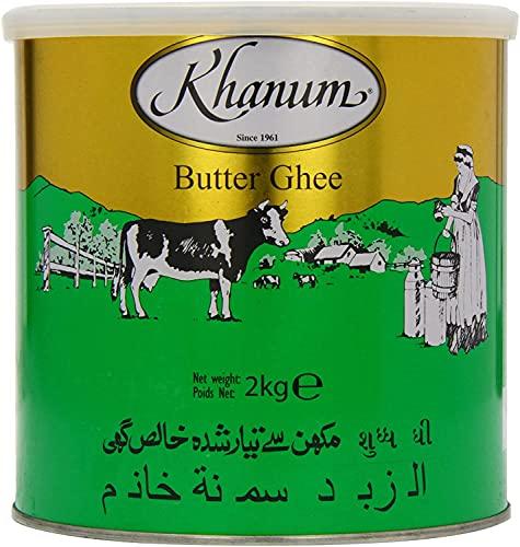 Khanum Mantequilla Ghee 2kg – Cremosa – Natural – Añade aroma a la comida – Saludable y nutritivo – Larga vida útil
