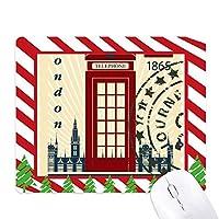 ロンドンの電話ボックススタンプ英国カントリーシティ ゴムクリスマスキャンディマウスパッド