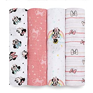 Aden Essential Swaddle 100% algodón Muselina - Minnie Rainbows, Paquete de 4