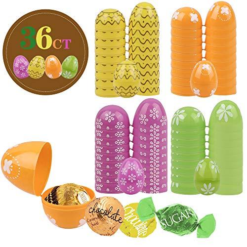 Valery Madelyn Set di 36 Uova di Pasqua in Plastica 6 cm Decorazione di Pasqua Ornamenti Pasquali Giocattoli per Bambini Deco Decorazione di Primaverile Ciondolo Pasquale per Pasqua Casa