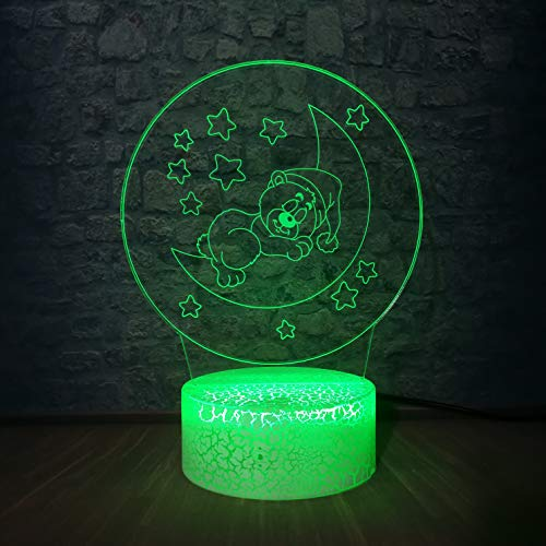 ShiyueNB 3D LED-lamp nachtlampje romantische maan beer RGB peer party Home kamerdecoratie kinderen verjaardagscadeau kind cartoon bureau tafellamp