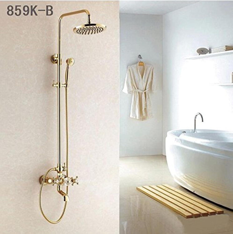 Kostenloser Versand Luxus 3 Stil Gold Farbe Badewanne Wasserhahn mit Handbrause Wasserhahn Mischbatterie ausgesetzt Dusche Sets 9177, hellgelb