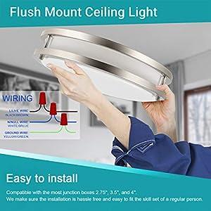 Drosbey 36W LED Ceiling Light Fixture, 13in Flush Mount Light Fixture, Ceiling Lamp for Bedroom, Kitchen, Bathroom, Hallway, Stairwell, Super Bright 3200 Lumens, 5000K Daylight White