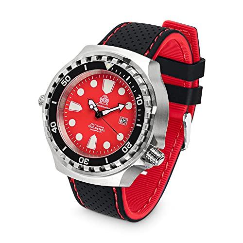 Tauchmeister Reloj de buceo profesional T0334SE XXL 100 ATM correa de silicona 52 mm