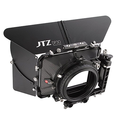 JTZ DP30 Cine Carbon Fiber 4x5.65 Inch Swing-Away Matte Box w/ 15mm / 19mm Rod Rail + Top Handle for Sony FS5 FS7 ARRI RED Canon C100 C200 C300 BMD Blackmagic BMPCC BMCC Pocket Cinema Panasonic Camera