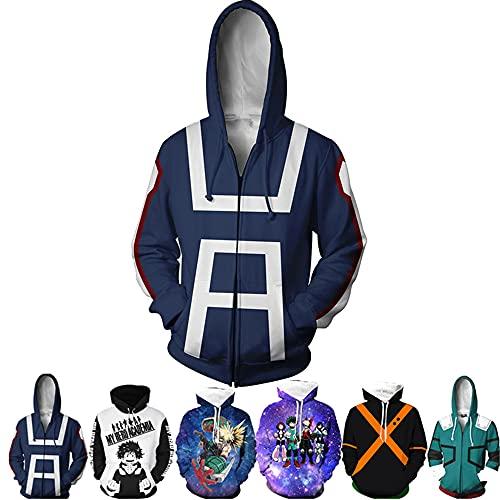 My Hero Academia Izuku Midoriya Hoodies Cosplay Costume Jacket Adult Unisex(Bule/XXL)