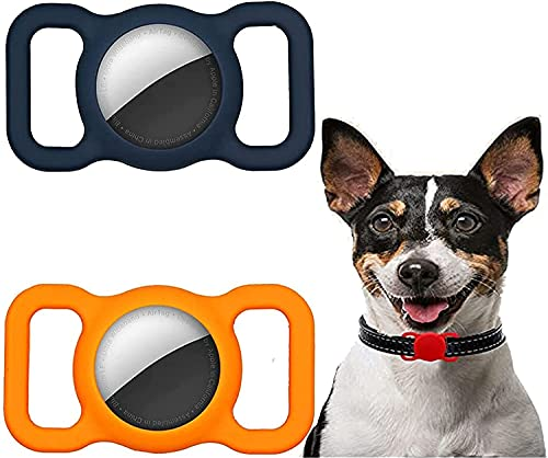 2 PCS Pet Silicone Protective Case for Apple Airtag GPS Finder Dog Cat Collar Loop,Anti-Lost LocatorAirtags,Pet Loop Holder for Apple Air_Tag Adjustable GPS Tracking,for Children Elderly Bags