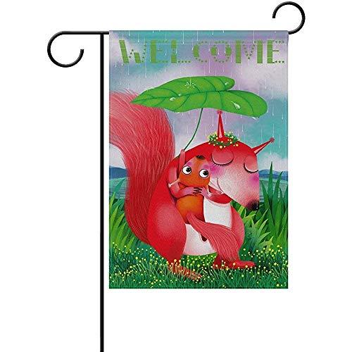 Outdoor Tuin Vlag,Welkom Eekhoorn Moeder Knuffel En Baby Regenachtige Dagen Polyester Tuin Vlaggen Voor Tuin Welkom Decor