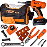 JOYIN 15 PC Sling Bag Construction Tool Toy Set Includes 1 Tool Bag,1 Power Drill with 3 bits, 1 Tape Measure, and Various Tool Accessories for Construction Pretend Play