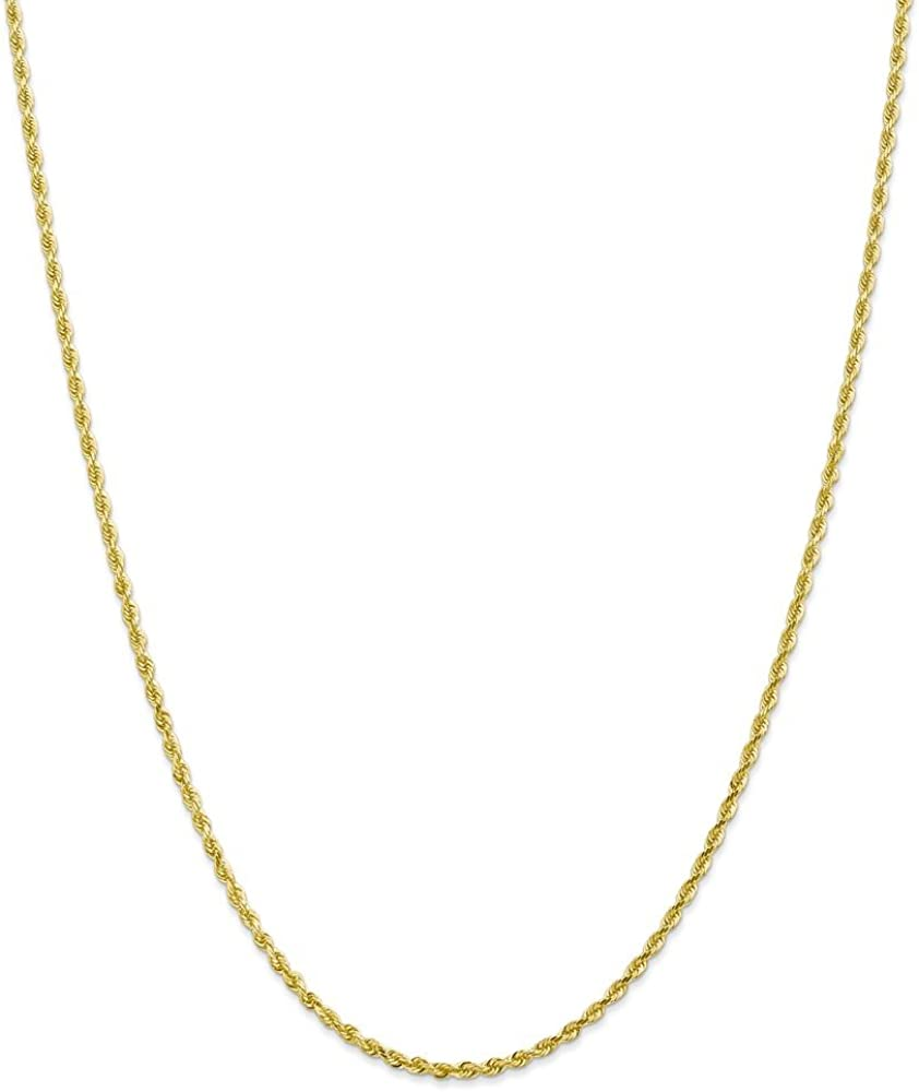 10k Yellow Gold 2.25mm Diamond Cut Quadruple Rope Chain Anklet Secure Lobster Clasp for Men Women
