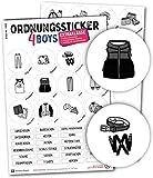 Typographus - 68 kindgerechte Aufkleber für Kleidung - Für Kleiderschränke, Boxen & Möbel - Sorgen für Ordnung im Kinderzimmer   Jungs   Ordnungssticker, Aufbewahrung, Ordnungssystem grau