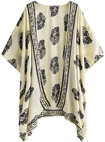 SweatyRocks Women Kimono Vintage Floral Beach Cover Up Beige Large product image