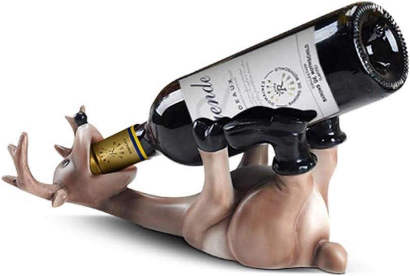 QIFFIY estantería de Vino Soporte de Botella de Vino Resina Europea Ciervo Borracho Estante de Vino Sala de Estar Oficina Botella de Vino Estante Decoración del hogar Titular de Vino (Color : B)