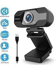 Webcam 1080p, TedGem webcam, PC webcam met microfoon Full HD webcam USB webcam streaming webcam voor videogesprekken en opname, klein/flexibel/instelbaar, ondersteunt Windows, Android, Linux