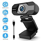 TedGem Webcam, Webcam 1080p, PC Webcam con Microfono Full HD Webcam USB Webcam...