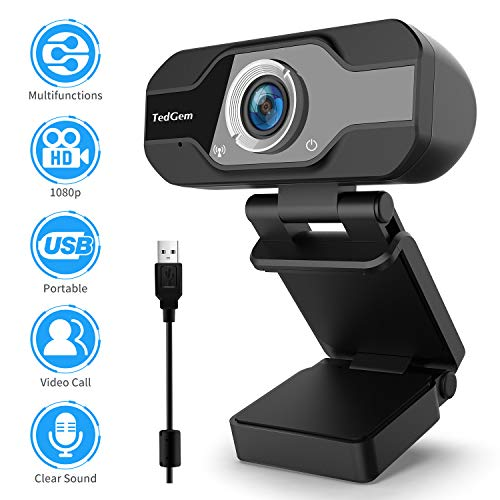 TedGem Web CAM, Webcam 1080p Camara Web, Webcam Full HD con Micrófono para Videollamadas, Webcam para Windows, Android, Linux