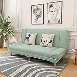 AIMIMO Sofá Cama de 2 Plazas,Sofá con Respaldo Ajustable con Función para Dormir y 2 Almohadas,Sofás Cama Plegable con Selección de Sofá Cama,para Apartamento Pequeño, Habitación Juvenil (Light Green)