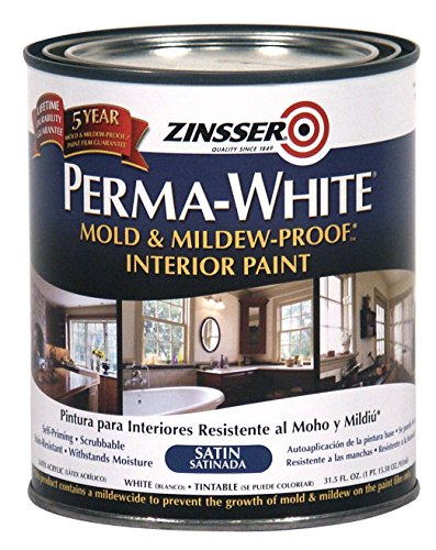 Zinsser 02704 Quart Satin Gloss Perma-White Mildew-Proof...