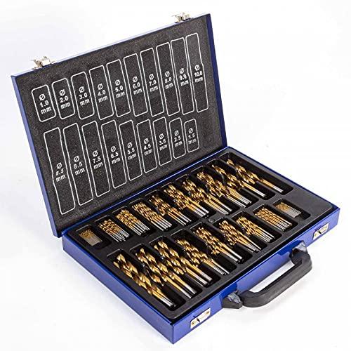 Waech - Juego de brocas HSS 230 piezas para acero – Tamaño 10-9.5 – 9-8 – 8.5-7 – 7.5-6 – 6.5-5 – 5.5-4 – 4.5-3 – 3.5-2 – 2.5-1 – 1.5 mm