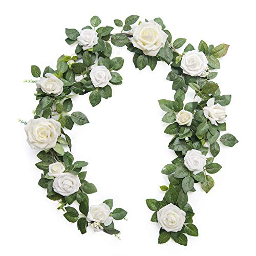 Ling's moment Handcrafted Artificial Ivory Rose Flower Garland 5FT for Wedding Ceremony Backdrop Arch Flowers Table Centerpieces Decorations