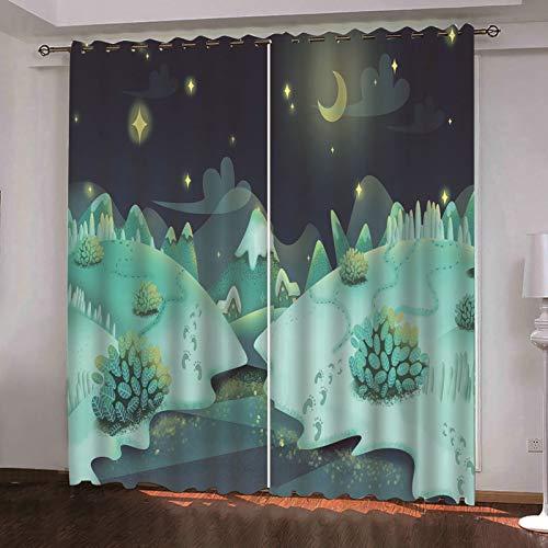ANAZOZ 2 Paneles Cortinas Opacas Cortina Poliester Habitacion Luna y Estrellas con Árboles Verde Claro Cortinas para Habitacion Tamaño 214x214CM