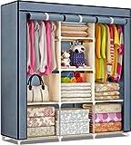 DIY Furniture Multi-Purpose Clothes Storage Wardrobe with Portable Shelves & Printed Design/Multi-Purpose Space Organizer for Bedroom (Grey)