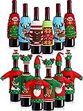 12 Pieces Christmas Wine Bottle Cover Cover Knit Sweater Wine Bottle Dress Wine Bottle Holder Pouch Santa Reindeer Snowman Wine Bottle Cover Tree Snowflake Gingerbread Men Bottle Dress Bags