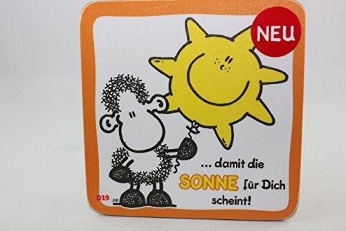 Sheepworld - 45469 - Untersetzer Nr. D19, Schaf, ...damit die Sonne für Dich scheint!, Kork, 9,5cm x 9,5cm