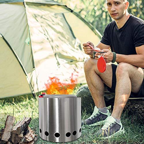 Aosong Horno de acero inoxidable, estufa de leña con bolsa de transporte, brasero sin humo al aire libre, brasero portátil en el patio trasero, no requiere gas o propano
