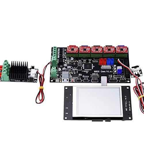 Impresora 3D Placa Madre Kit de Impresora 3D con Pantalla LCD de Pantalla TF3.2 + MKS Gen V1.4 Motherboard + 5X A4988 Conductor + 6X + Final de Carrera Mos Mini (Color : Black, Size : One Size)