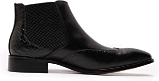 Daniel Wafer Bottines Chelsea de luxe en cuir véritable pour homme avec boucle et bout en aile Marron Noir 45,5