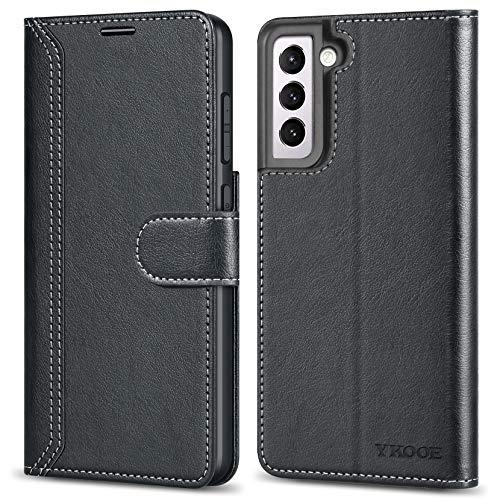 ykooe Handyhülle für Samsung Galaxy S21 5G Hülle, PU Leder Flip Tasche mit Brieftasche Schutzhülle für Samsung Galaxy S21, Schwarz