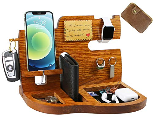 Pomcat Wooden Phone Docking Station Men's Gift with Key Holder, Wallet Stand and Watch...