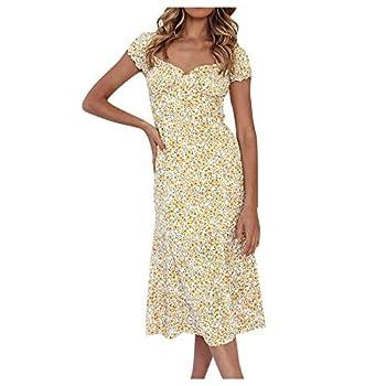 Uppada Women s Slit Square Neckline Dress Short Sleeve Flare Dress Summer Printed Puff Sleeves Boho Midi Dress