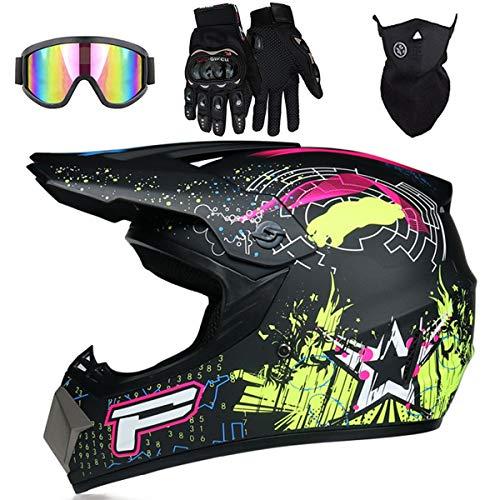 MJH-001 Big 'P' Sign - Casco de moto para niños, con máscara de gafas y guantes de BMX, para niños y niñas, el mejor regalo - Color: negro mate