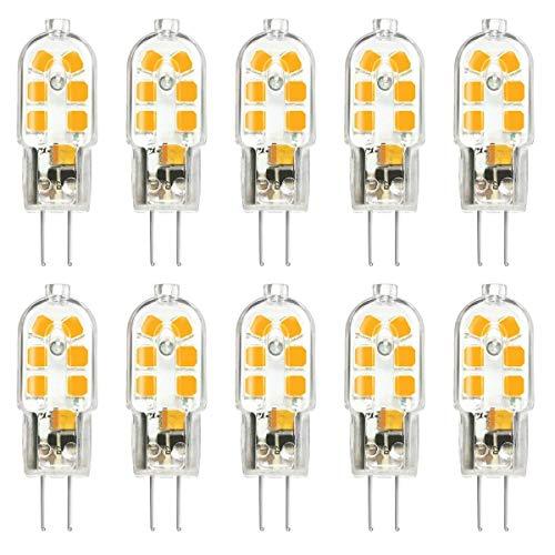 SSendless LED sin luces G4, 2W AC DC 12V 180LM Bombillas LED no regulables para iluminación de hogar, araña, luz de cristal, paquete de 10 (luz calida)