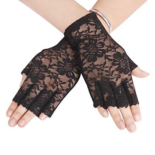 Afinder Kurz Fingerlose Spitzenhandschuhe Damen Halb Fingerhandschuhe Sommer Spitze Sonnenschutz Handschuhe Sexy Brauthandschuhe Hochzeithandschuhe für Hochzeit Abend Party