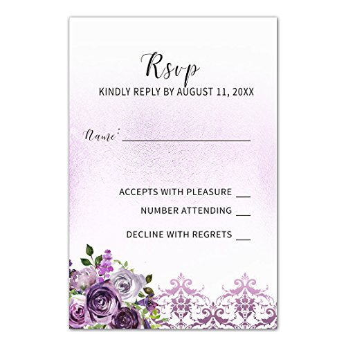 100 RSVP Response Cards Purple Plum Lavender Damask Floral Design + Envelopes
